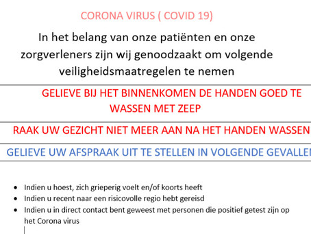 Maatregelen Corana Virus in onze praktijk.