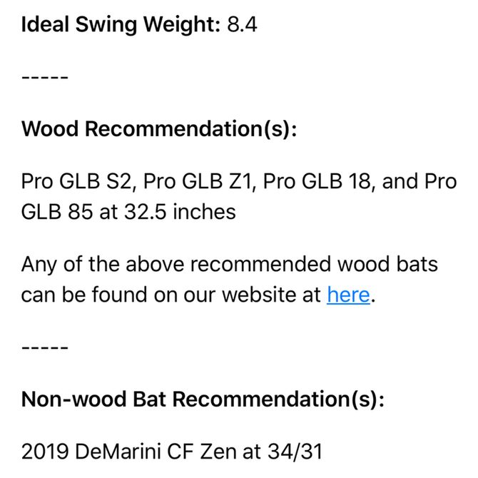 Your Bat Recommendations
