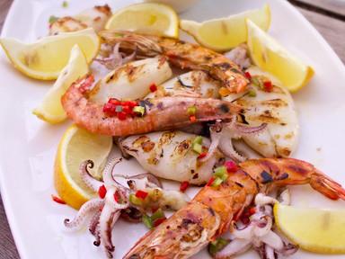 Lemon Squid & Shrimp Skewers | RECIPE