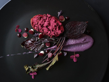 Black Iberian Pork, Beetroot Textures, Goats Cheese & Ube | RECIPE