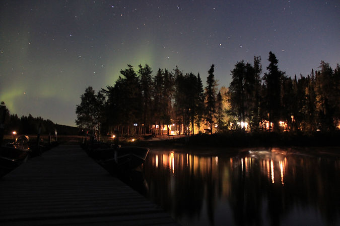 Davin Lake Fishing Lodge all lit up at night