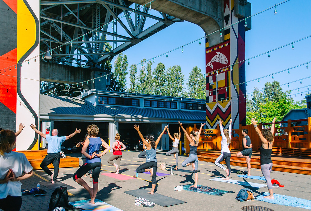Granville Island Yoga at the Chain & Forge Public Space.