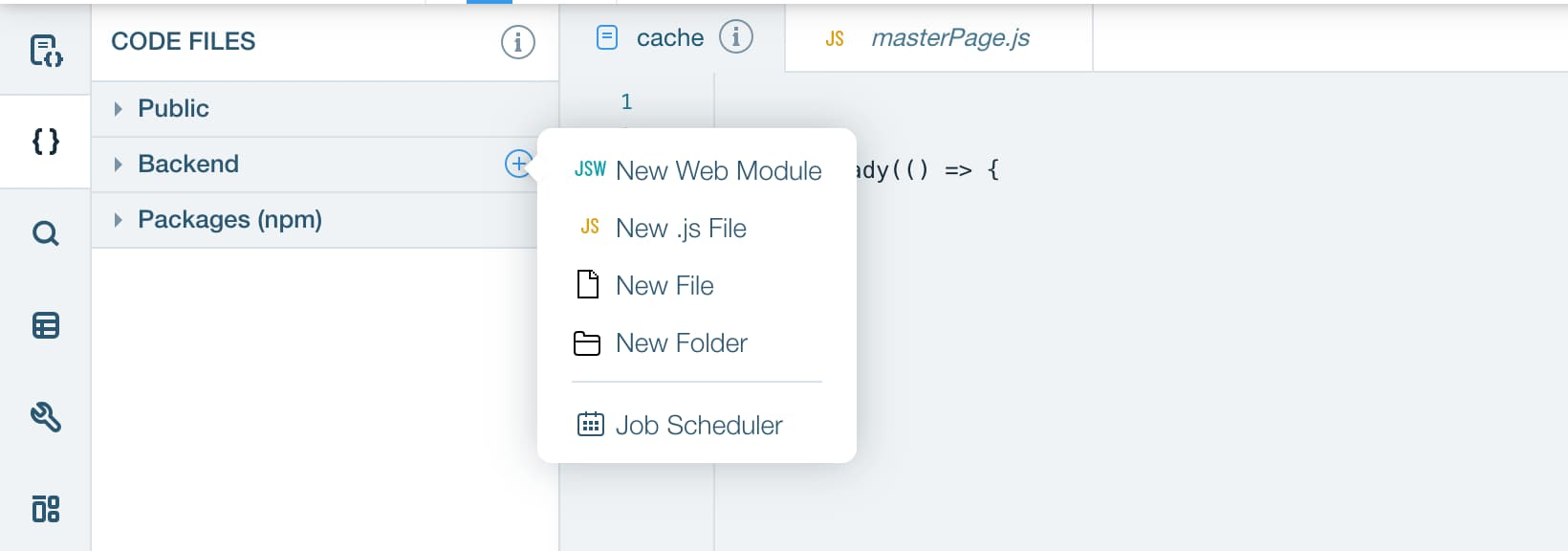 Sidebar panel of Wix Editor for adding a new Web Module