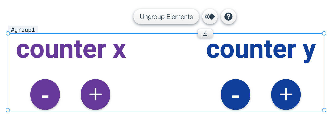 Example: Wix Editor layouts with two counters for increment and decrement
