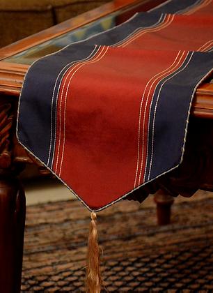 Wine & Royal Blue Silk Table Runner