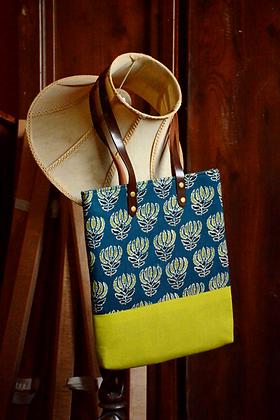 Lime Green & Blue Tote Bag