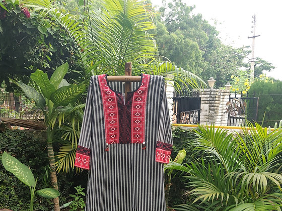 Stripped Scarlet Kurta