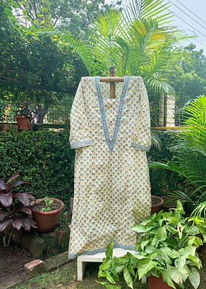 Aegen Blue and Dirty White Kurta
