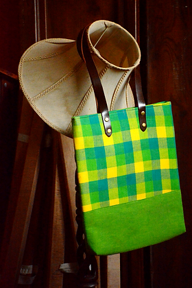 Green Checked Tote Bag