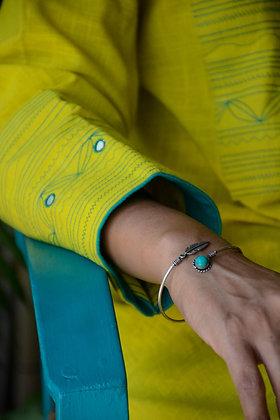 Neon & Turquoise Kutch Work Kurta Set