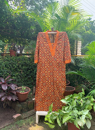 Ajrakh Print Honey-Caramel Kurta
