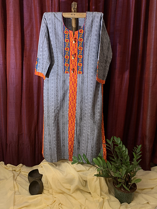 Slate Grey and Bright Orange Kurta
