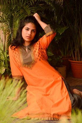 Orange & Black Kurta Set