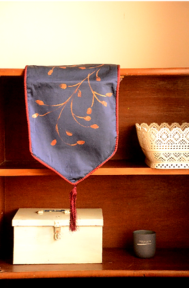 Hand-Painted Blue Silk Table Runner