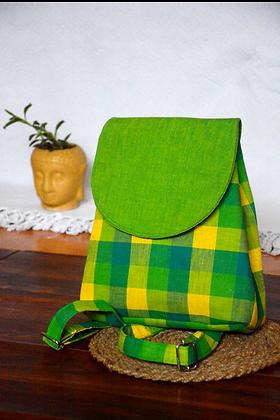 Parrot Green Checks Bagpack