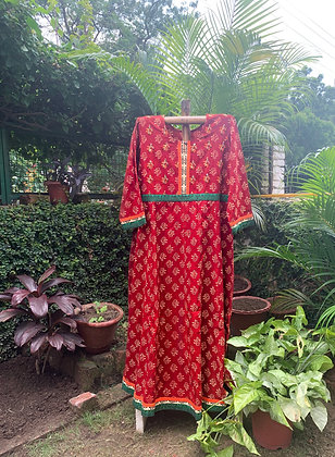Barn Red Blockprinted Kurta