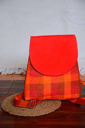 Crimson Checks Bagpack