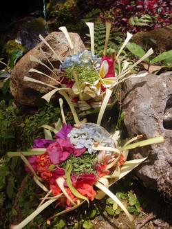 Bali floral offering, Offrandes florales balinaises