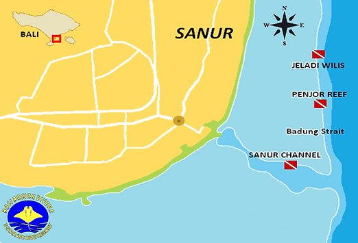 Carte des sites de plongée Sanur