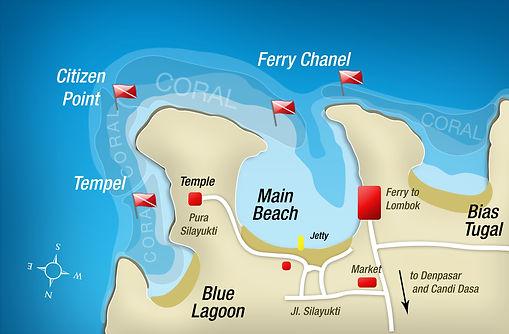 Carte des sites de plongées Padang Bai