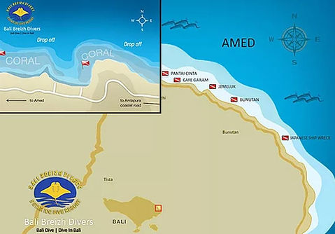 Carte des sites de plongées Amed