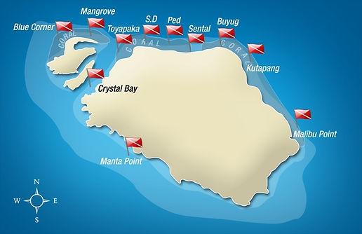 Carte des sites de plongées Nusa Penida