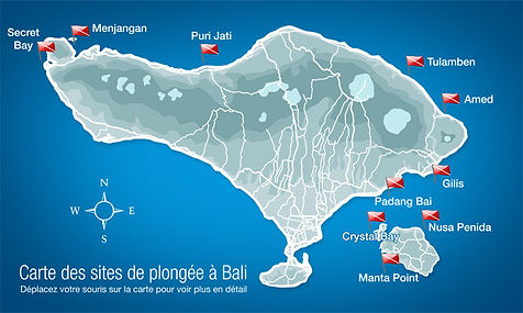 Bali diving Map - Carte des sites de plongée à Bali