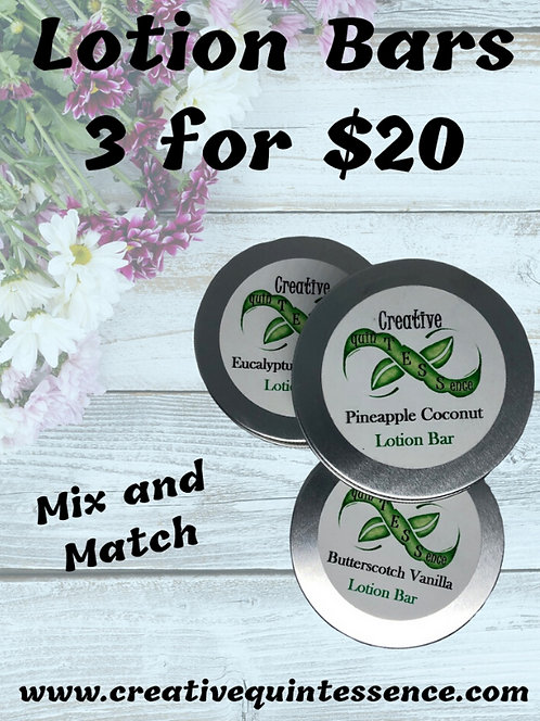 3 Lotion Bars for $20
