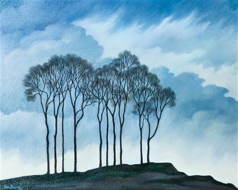 painting of tall skinny trees with blue, cloudy background