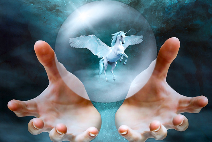 pegasus in a sphere floating above open hands