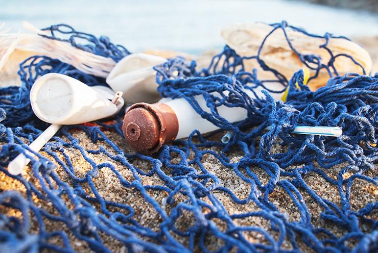 fish net with plastic