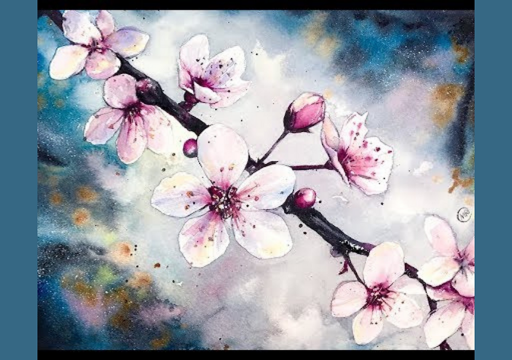 Painting on cherry blossom branch
