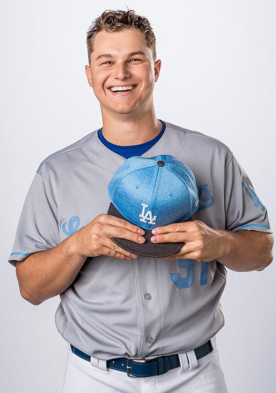 LA Dodgers outfielder Joc Pederson wearing Majestic Athletic / Fanatics gear