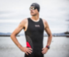Andy Potts wearing TYR speed suit, TYR goggles and TYR skull cap