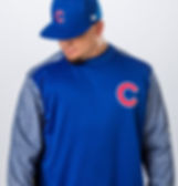 Chicago Cubs outfielder Kyle Schwarber wearing Majestic Athletic / Fanatics gear