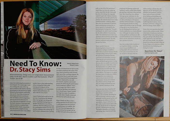 Dr. Stacy Sims - 3 GO Magazine Editorial