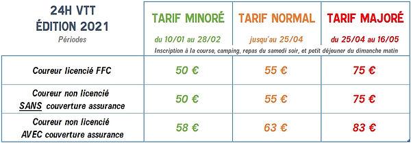 Tarif 24h VTT 2021