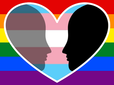 Faces looking at each other over laying the transgender flag overlaying a rainbow background.
