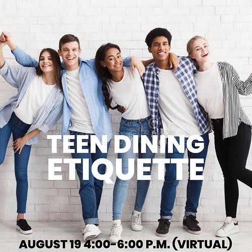 Teen Dining Etiquette Workshop (virtual)
