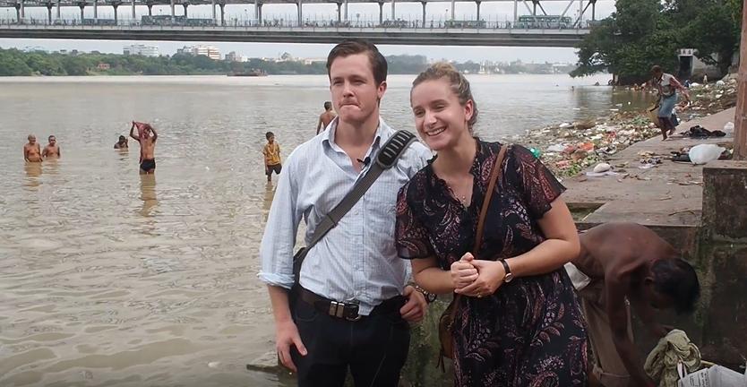 Lochie Burke & Pauline at Mullick Ghat, Kolkata