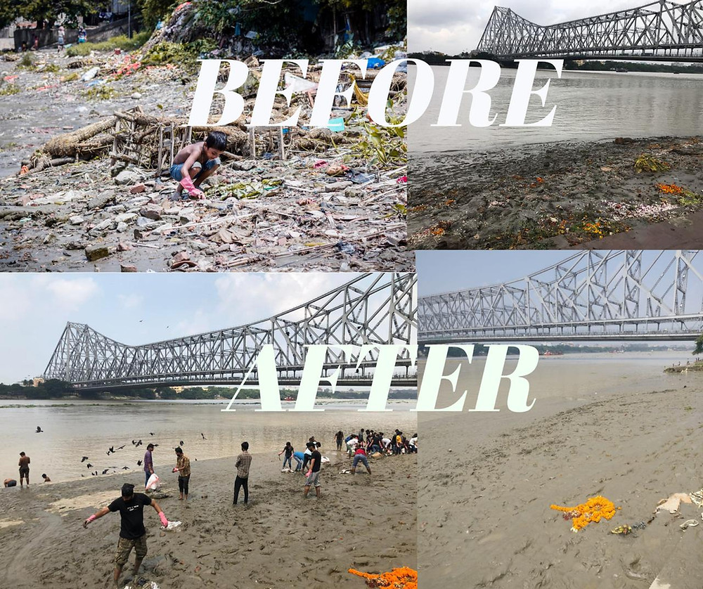 A before and after condition of ghat after 6 clean-up drive
