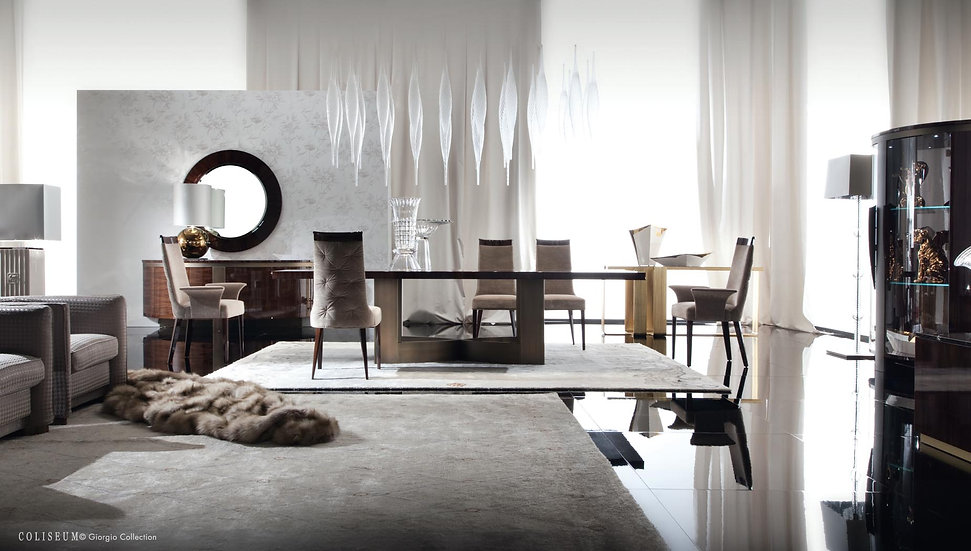 Giorgio Collection Coliseum Dining Table, 6 Chairs, 2 Carvers, Buffet & Mirror