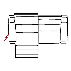 ETNA 208cm SOFA LHF POWER RECLINE