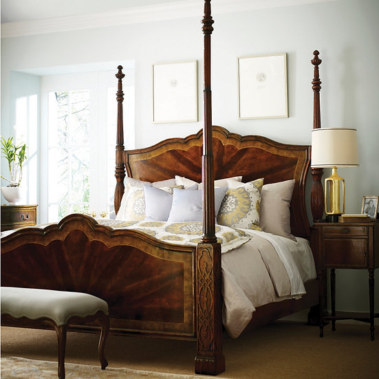 Jonathan Charles Bed & Pair of Bedside Cabinets