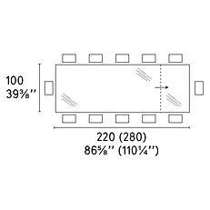 OMNIA TABLE 100 X 220 (280)cm
