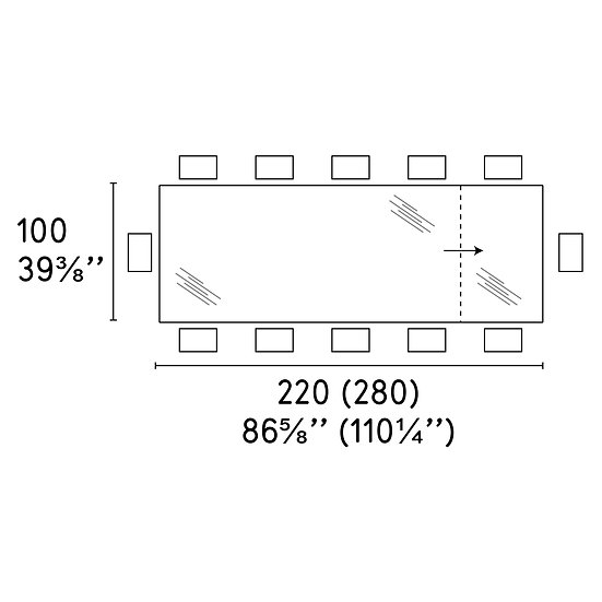 Omnia Table 100 x 220 (280)