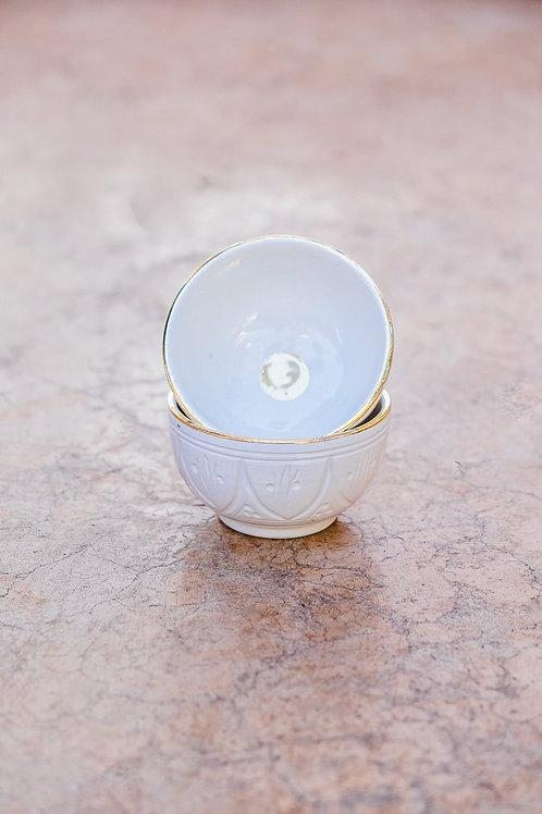 2 Mini Bols Céramique Empreinte Gold