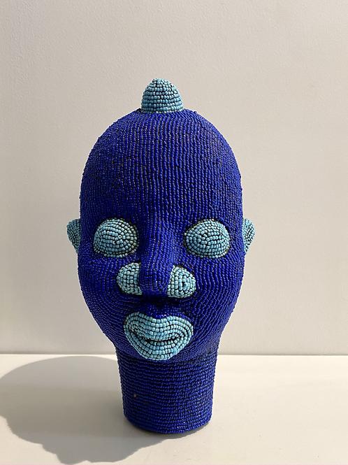 Tête africaine bleu majorelle et bleu turquoise