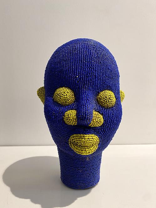 Tête africaine bleu majorelle et jaune