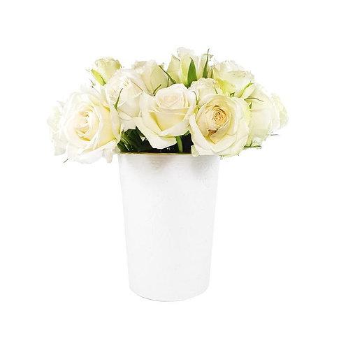 Vase Pot Empreinte Blanc Gold